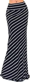 Vivicastle Women's USA Asymmetric Striped Fold Over Waist Long Maxi Skirt
