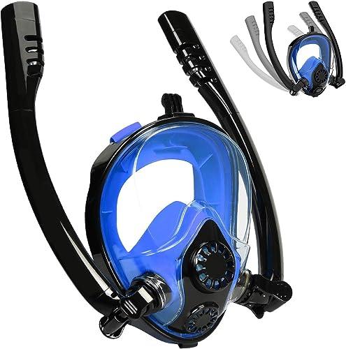 SUMER Snorkel Mask, Safe K2 Breathing Full Face Snorkeling Mask with 180 'Panoramic Design Anti-Fog Anti-Leak Snorkeling Diving Mask with Detachable Camera Mount