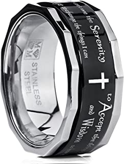 Metal Masters Co. Men's Women's Black Stainless Steel Religious Cross Serenity Prayer Spinner Ring 9MM