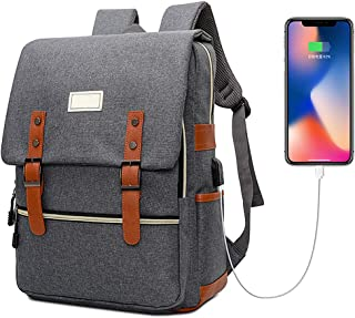 Vintage Laptop Backpack with USB Charging Port, Elegant Water Resistant Travelling Backpack Casual Daypacks School Shoulde...