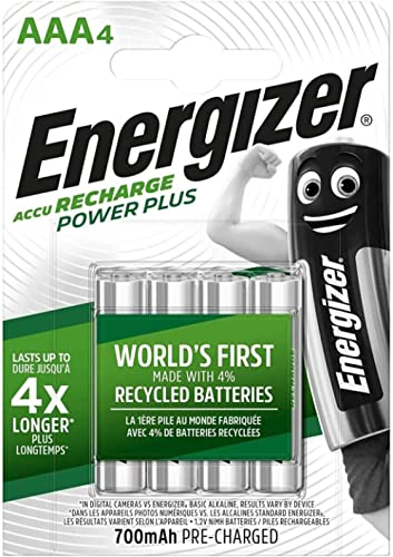 Energizer Rechargeable Batteries AAA, Recharge Power Plus, Pack of 4