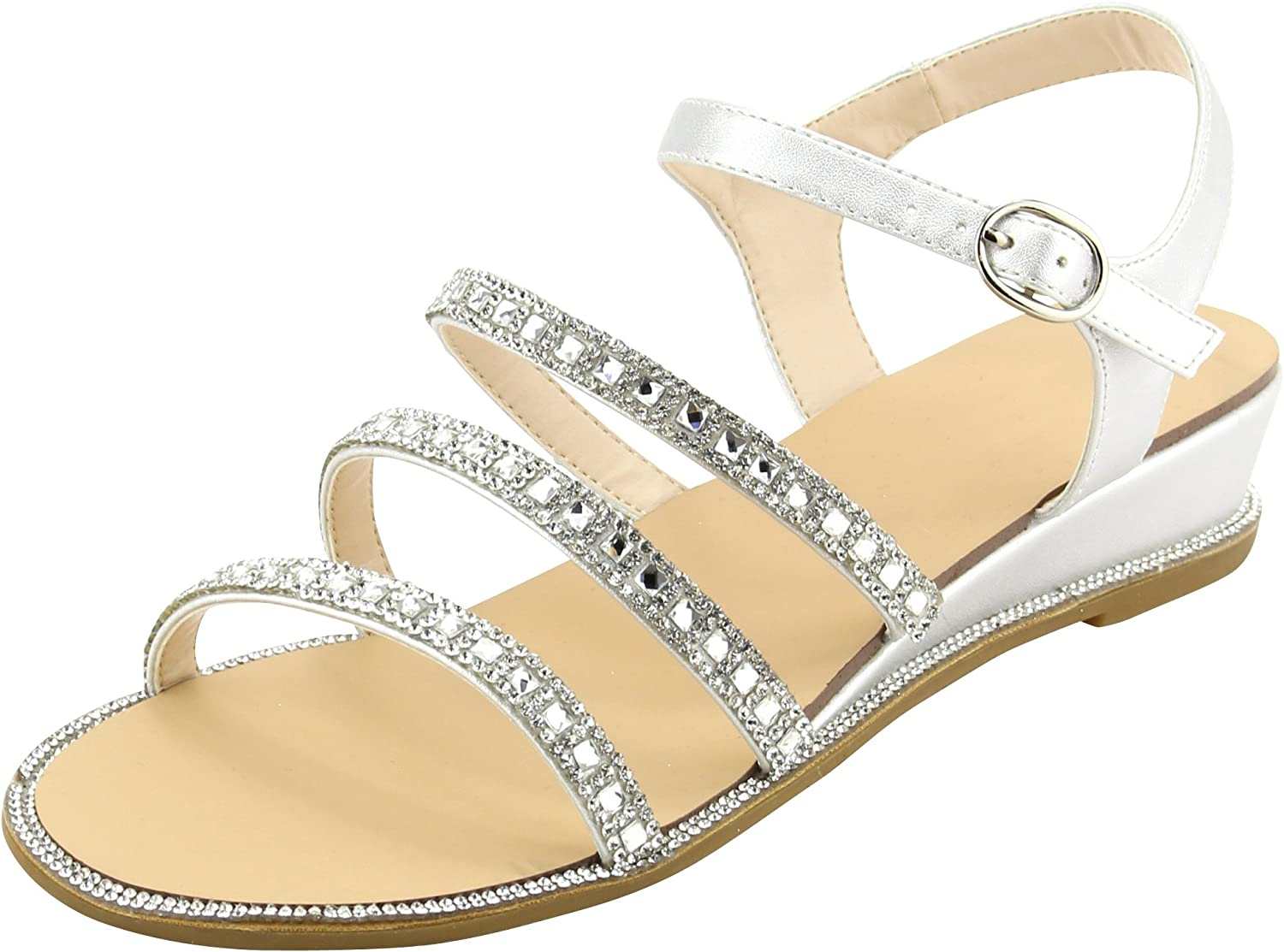 Cambridge Select Women's Open Toe Buckle Ankle Strappy Crystal Rhinestone Low Wedge Sandal