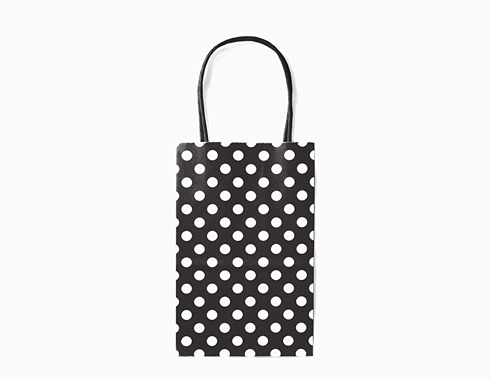 12CT Small Black Polka DOT Biodegradable, Food Safe Ink & Paper, Premium Quality Paper (Sturdy & Thicker), Kraft Bag with Colored Sturdy Handle (Small, P.Black)