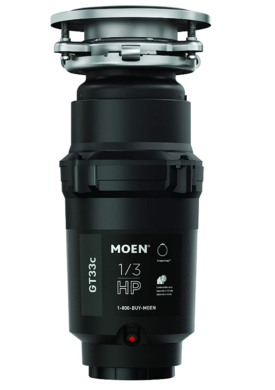 Moen GT33C GT Series 1/3 Horsepower Garbage Disposal, with with Fast Track Technology