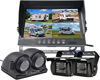 """FHD 1080P Backup Camera Monitor DVR System,4 x IR Night Vision Car Front Side Rear 360 View Dash Camera + 9"""" IPS LCD 4CH Q..."""