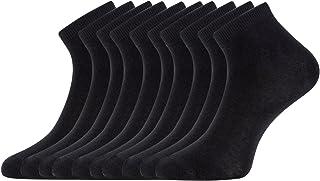 Mujer Calcetines Tobilleros (Pack de 10), Negro, 35-37