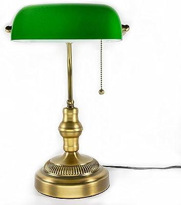 バンカーズランプ 黄銅メッキ スタンドライト アンティーク E26口金 LED電球対応可 電球別売り 黄銅メッキ ベッドサイド スタンド デスクライト アンティークランプ (緑)