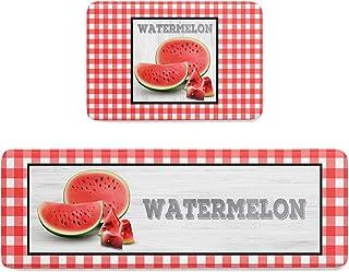 Infinidesign Watermelon Kitchen Rug Set, 15.7x23.6in+15.7x47.2in 2 Pieces Standing Floor Mats, Carpet with Non-Slip Bottom...