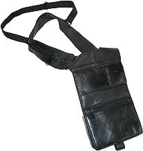 CTM Leather Deluxe Travel Shoulder Wallet, Black