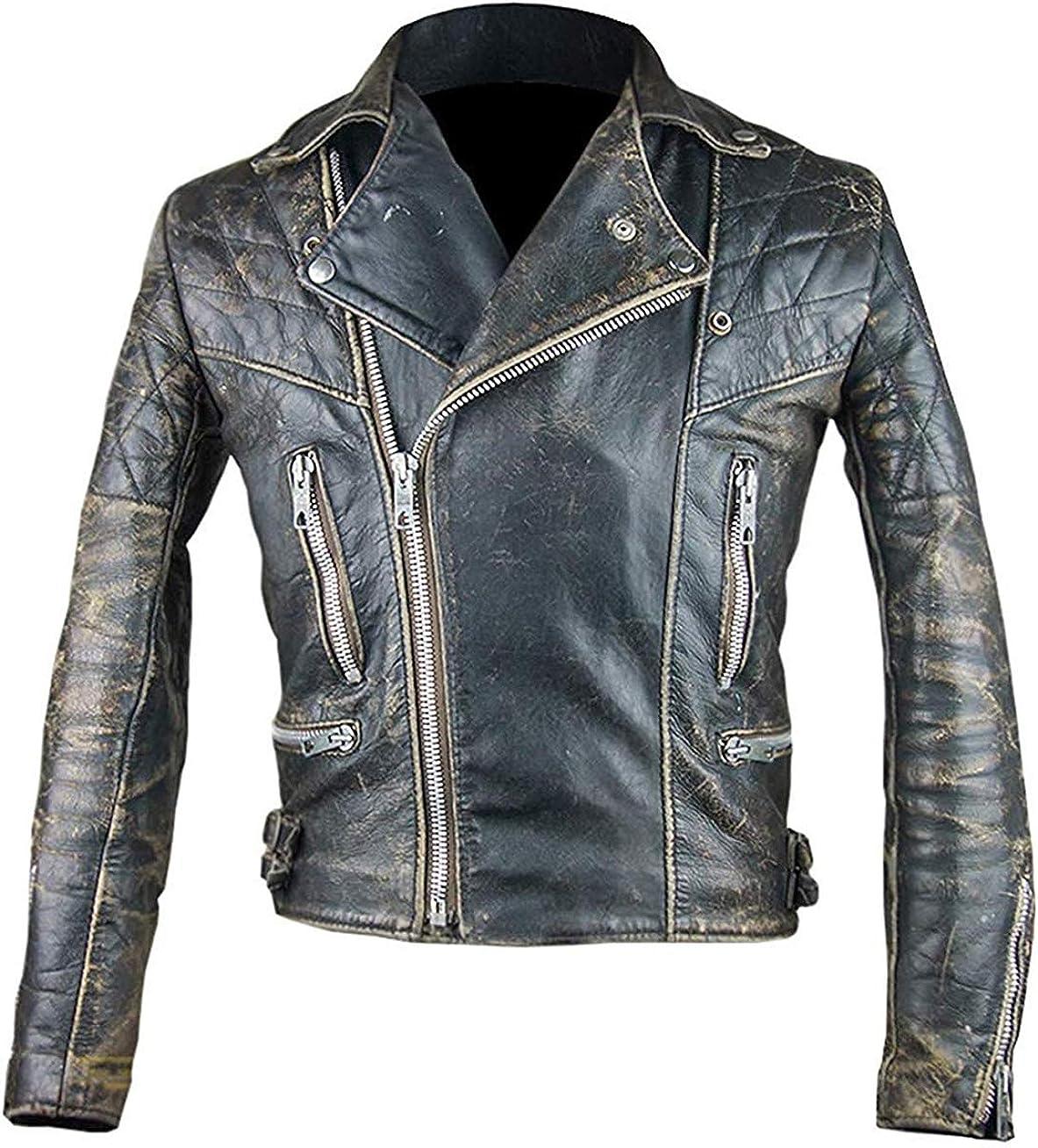 Mens Antique Leather Jacket Vintage Leather Jacket Black Motorcycle Jacket Mens