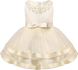 Nimiya Infant Baby Girls Sleeveless Beads Faux Pearls Layered Mesh Tutu Princess Dress for Wedding Party