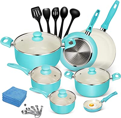 MASTERTOP 16-Piece Cookware Set - Ceramic Nonstick Pots & Pans, Dishwasher Safe Cookware Sets, Stay Cool Handle, Non Stick Soup Pot, Milk Pot and Pans, 5 Spoons, 5 Microfiber Rags (Tiffany Blue)