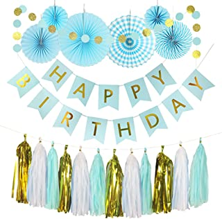 Monkey Home 20pcs of Tissue Paper Fans,Light Blue Happy Birthday Banner Party Decorations Circle Dots,Paper Garland Tissue Paper Tassel for First Birthday Baby Shower Supplies (Light Blue Theme)