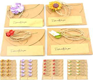 Maydahui 40PCS Vintage Kraft Handmade Greeting Wish Card with Dried Flower,Hemp Rope,Envelope Used as Thank You Notes,Party Invitation Card ( Small - 4 X 3 Inches)