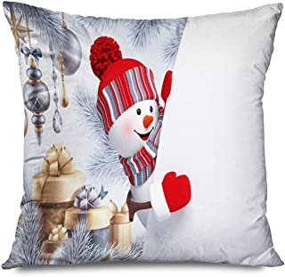 CHARLLR Throw Pillow Cover 18x18 Inch Christmas Cute White Snowman Red Scarf Hat Sliver Tree Winter Xmas Cartoon Golden Gi...