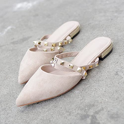 DIDIDD Bout Pointu Bout Plat Rivet Romain Sandales Paresseuses Mules Chaussures,Abricot,36