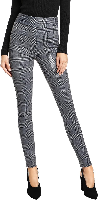 SweatyRocks Women's Casual Skinny Leggings Stretchy High Waisted Work Pants