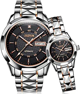 Couples Tungsten Steel Mechanical Watches for Men and Women Wedding Gift Set, His and Hers Automatic Self Winding Sapphire Big Face Large Dial Pyramid Day Date Dress Pair Wrist Watch Waterproof