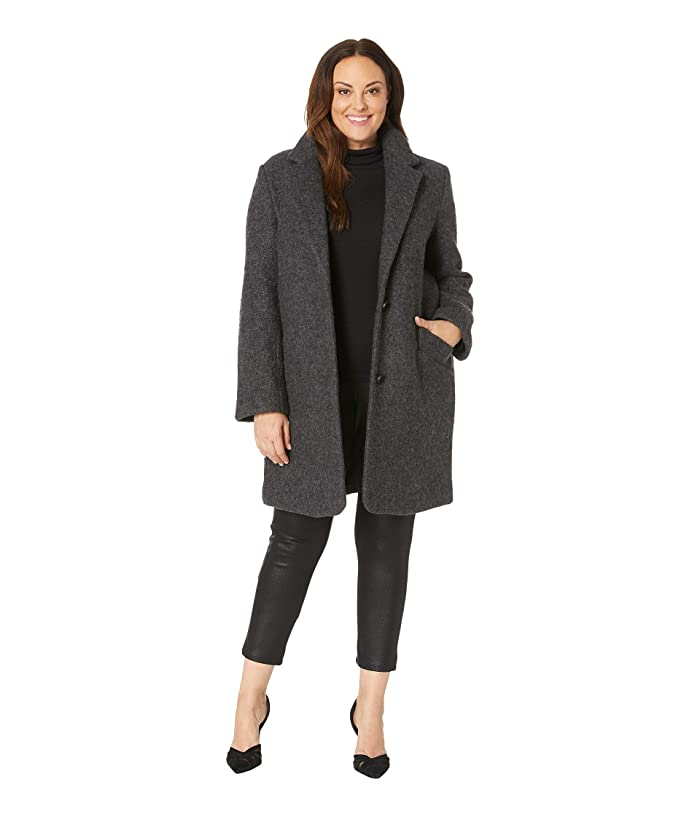 Marc New York by Andrew Marc Plus Size Paige Pressed Boucle (Charcoal) Women