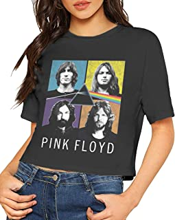 Women Pink-Floyd-Band-Poster Short-Sleeve Tee T-Shirts Crop Top Tees Black