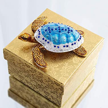 YU FENG Small Turtle Figurine Jewelry Trinket Boxes Hinged Collectible Figurines