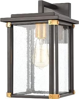 Elk Lighting 46721/1 Vincentown 1-Light Matte Black with Seedy Glass Sconce, Brushed Brass