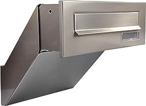 Wandpas-through brievenbus, 100% roestvrij staal V2A, verzonken brievenbus, transparant