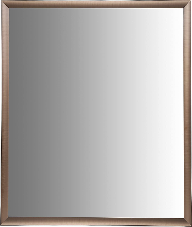 Nielsen Bainbridge 24x30 Rectangular Aluminum Wall Mirror   Vanity Mirror, Bedroom or Bathroom   Hangs Horizontal or greenical   Brushed Bronze