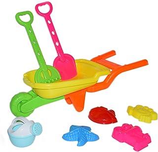 ZeeSquare 7 Pc Garden Toys Building Tool Kit Set Beach Toy include Shovel Trolley Sandbox Wheelbarrow Water Can, Sand Toys...