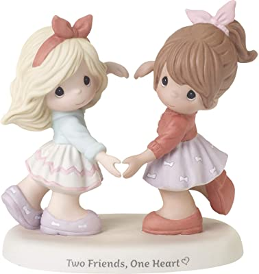 Precious Moments Girls Making Hands 192001 Two Friends One Heart Bisque Porcelain Figurine, Multi