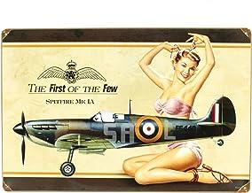 International Military Antiques, Inc. British WW2Vintage Metal Sign Spitfire mkia Pinup Girl
