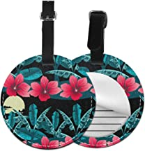 Tropical Leaf Abstract Round Leather Luggage Id Tag Suitcase Carry-on Travel Accessories 1 piece