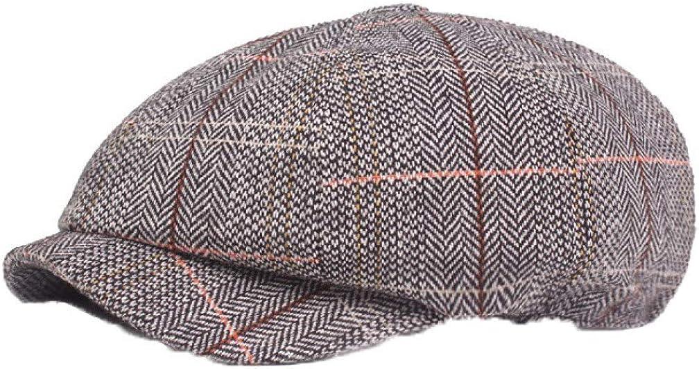 Women's Vintage Plaid Newsboy Cap Casual Visor Cabbie Cap Paperboy Hat Berets Octagonal Cap