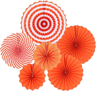 Zilue Hanging Orange Paper Fans Decoration Set for Wedding Birthday Party Halloween Day Round Events Accessories Set of 6