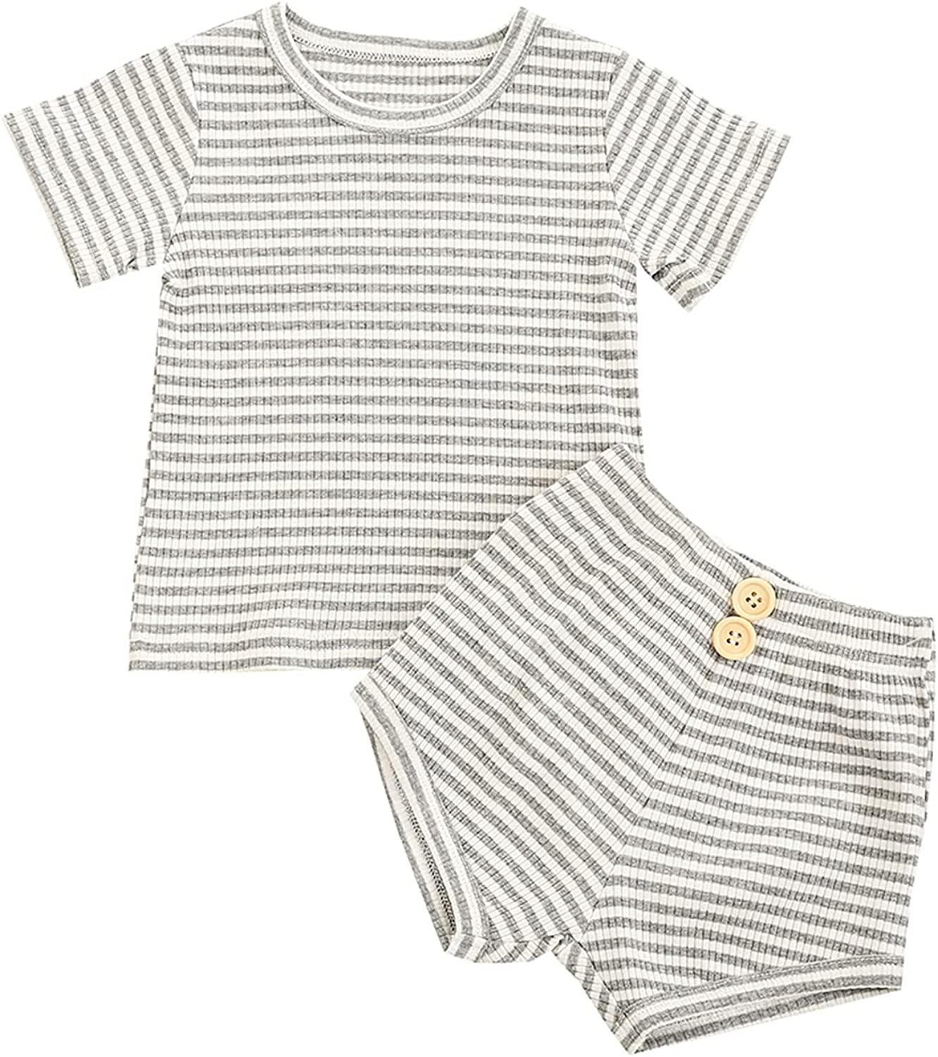 2 Pieces Kids Suit Set, Unisex Striped Round Collar Short Sleeve Tops+ High Waist Shorts for Summer (Gray, 5-6 Years)