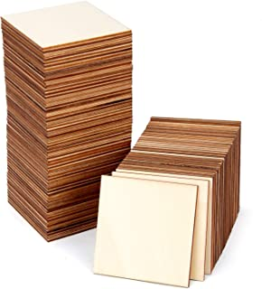 Blisstime 36 PCS 3 Inches Unfinished Wood Squares Pieces Natural Wood Coasters Wooden Square Cutouts Crafts for Painting, Writing, DIY Supplies, Engraving and Carving, Home Decorations