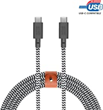 Native Union Belt Cable USB-C to USB-C - 8ft Ultra-Strong Cable with Leather Strap for Samsung Galaxy Z Flip, S20, S20+, S20 Ultra, A20s, A71, Note10+, Google Pixel 4 (Zebra)