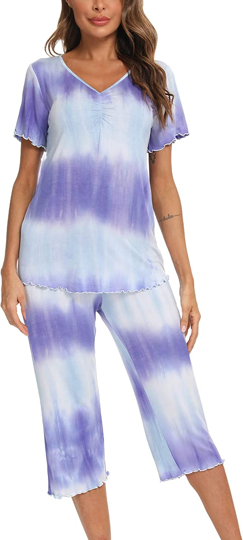 Hefunige Women Tie Dye Short Sleeve Pajama Short Sets Sleepwear Petite Plus Size S-4XL