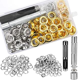 Grommet Kit,Grommets 1//2 inch Heavy Duty Metal Eyelets Kit for Fabric Curtains