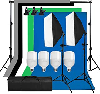 Abeststudio Photography Backdrop Softbox Lighting Kit, 2x2m Background Stand, 5 Colors Backdrops, 4X 25W LED Bulb, 50x70cm Softbox + Light Stand for Portrait Product and Video Shooting