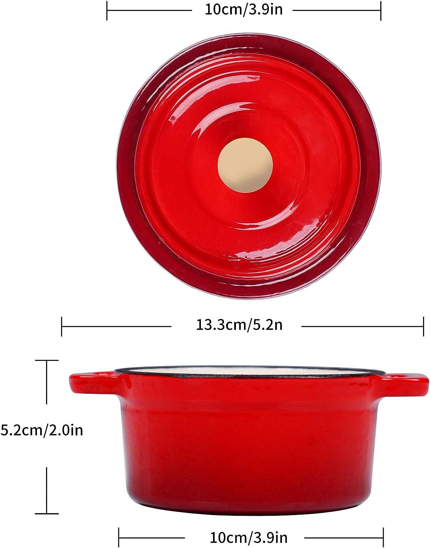 Sopa Inducci/ón Velaze Ollas Pre-Sazonado de Esmalte Cacerola Rojo para Cocina con Gas Alta Calicidad Esmlate Antadherente para Estofado Cacerola Hierro Fundido con Gran Capacidad 1L