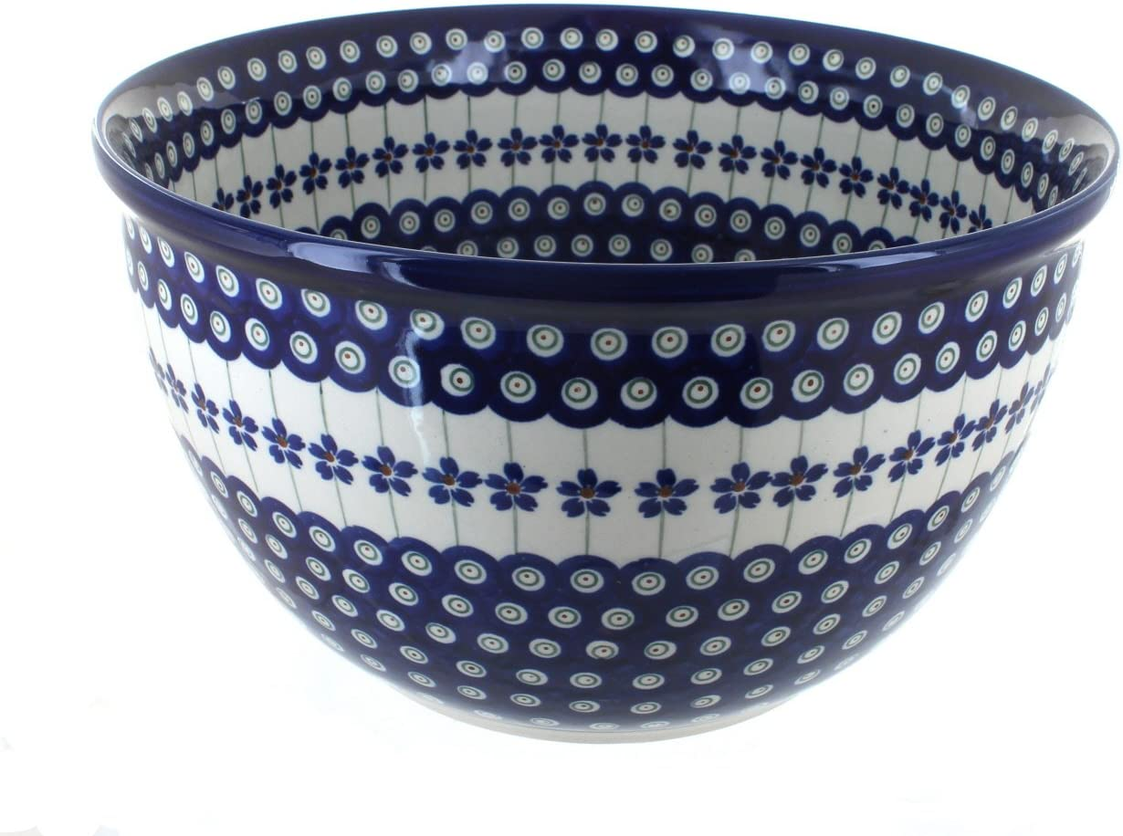 Blue Translated Rose Polish Pottery Flowering Bowl Mixing Max 58% OFF Large Peacock
