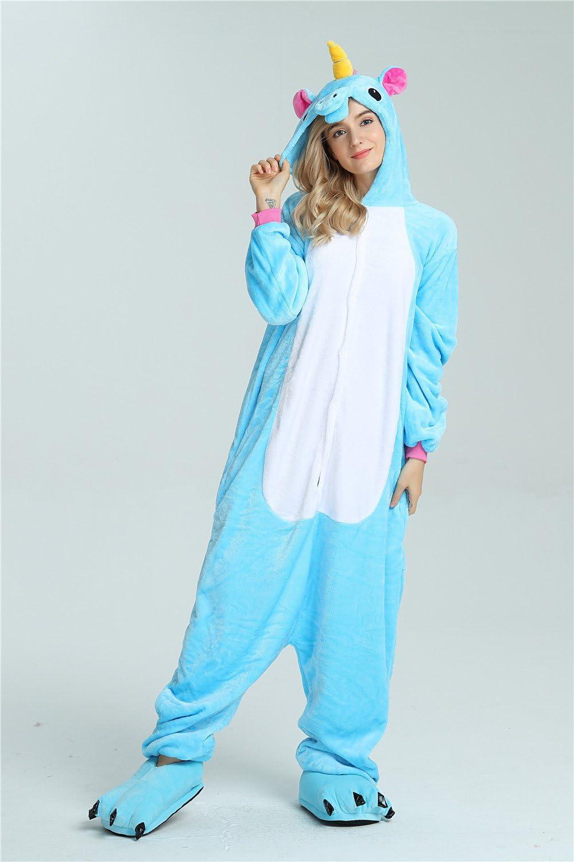 Kenmont Unicornio Juguetes y Juegos Traje Disfraz Animal Ropa de Dormir Cosplay Disfraces Pijamas para Adulto Niños (L: 168-178CM, Azul)