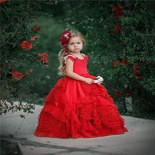YuFLangel Robes de soirée pour Fille Enfants Qi Strass Fleur Pettijupe Fille Robe De Scène Robe De Mariée Fille De Fleur Robe de Demoiselle (Taille   6-7T)