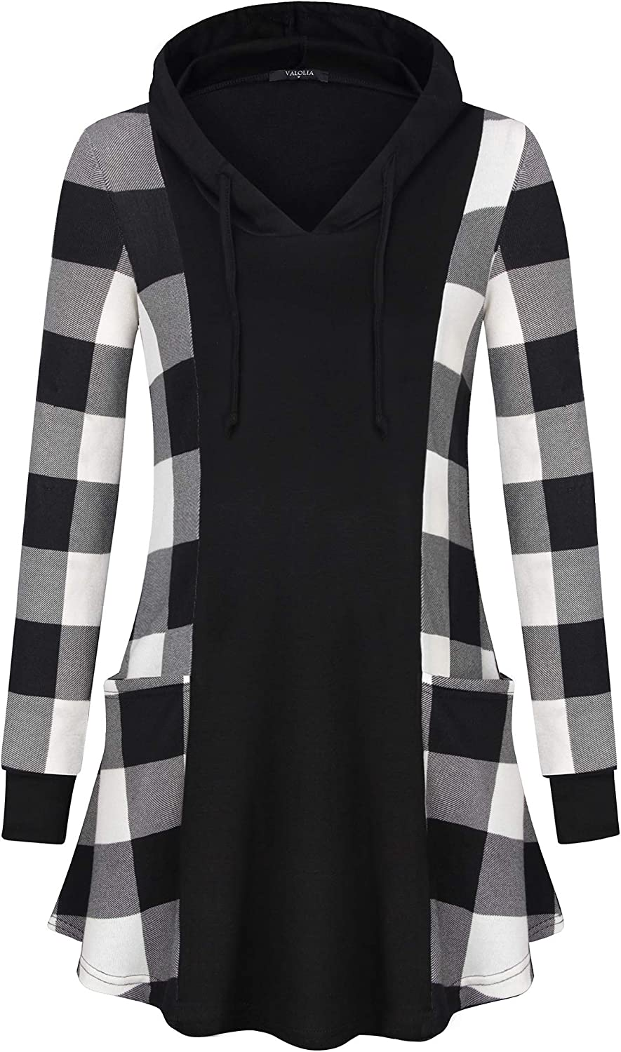 VALOLIA Women's Super Special SALE held Color Block Lightweight Max 57% OFF Spring Sp Plaid Pullover