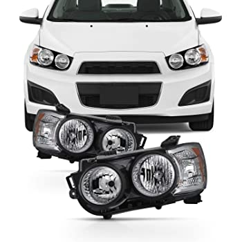 AnzoUSA 121488 Black//Clear//Amber Halogen Projector Headlight for Chevrolet Sonic Anzo USA