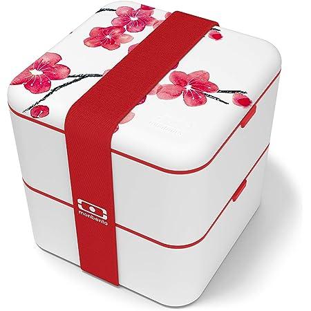 monbento - MB Square bento box - Lunch box hermétique 2 étages - Boîte repas idéale pour le travail/école - sans BPA - durable et sûre (Graphic, graphic Blossom)