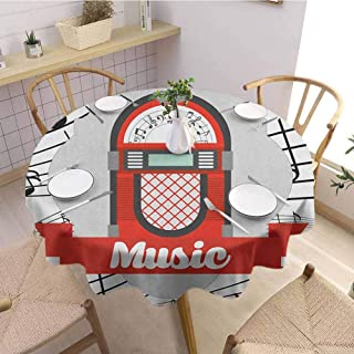 HouseLookHome Jukebox Round Tablecloth Old Vintage Music Radio Box Cartoon Image with Notes Artwork Print Clips for Tablecloths 51 Inch Round Orange Pale Grey Black