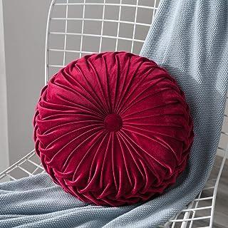 Lucoss Home - Cojín redondo de terciopelo de calabaza de 34,7 cm, hecho a mano, para silla, sofá, cama, color rojo