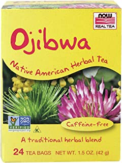 NOW Foods, Ojibwa Tea, Tradtional, Caffeine-Free Herbal Blend, Preservative-Free and Sugar-Free, Premium Unbleached Tea Bags with No-Staples Design, 24-Count